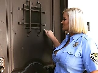 Stacked Blonde Cop Julie Cash Sexes Up A Strung Up Junior Man
