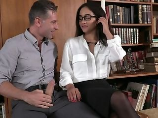 Modest Librarian Dual Penetrated By Two Dangled Strangers
