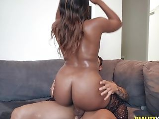 Dark-hued Stunner Chanell Heart Bounces Her Big Round Booty On A Milky Man Rod