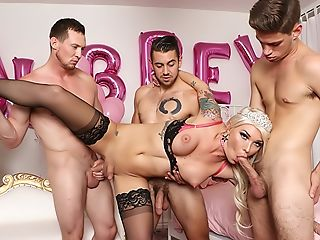 Transsexual Aubrey's Anal Invasion Bday 4 Way