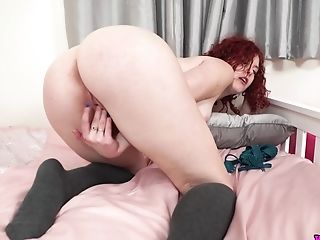 Crimson Haired Housewife Charlie T Is Playing With Snatch In Rear End Style Pose