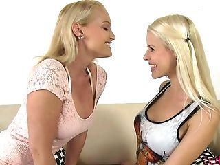 Glad Long-legged Blonde Lesbo Lynna Helps Her Fresh Gf To Undress And Licks Her Fuckbox