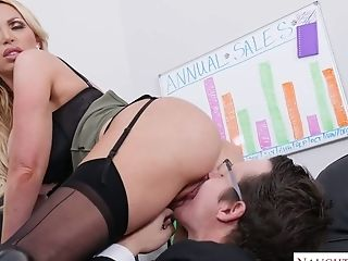 Exceptionally Sexy Curvy Blonde Manager Nikki Benz Is Fucked Mish On The Table