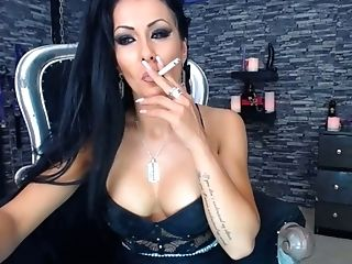 Tits girl smoking after sex