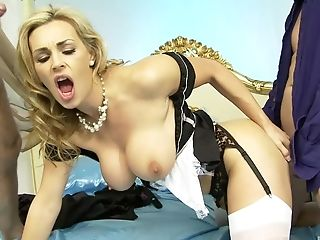 Classy Blonde Mummy Tanya Tate Gets Jizz In Her Mouth By Two Guys