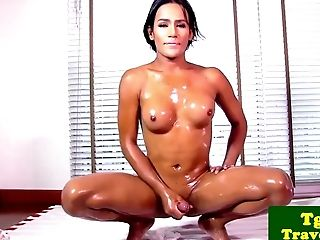 Oiled Transgender Princess Stripteases Before Masturbating