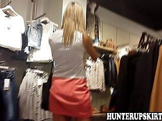 Sexy Blonde Public Upskirt