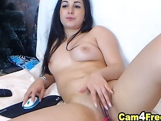 Brown-haired Honey Shows And Finger Fucks Twat Till It Gets Raw