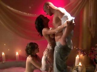 One Lucky Fellow Joins Sandra Romain And Sasha Grey During Their Bath