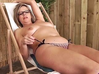 Fuck-a-thon-greedy Bbw Lou Pierce Is Pleasing Herself On A Beach Stool