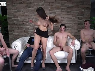 Mea Melone And Her Bitchy Gf Pounded By Many Guys On The Couch