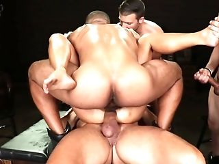 Pile Of Dangled Dudes Are Wrecking One Honey With Hard Stiffys