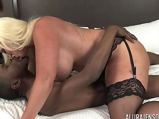Horny Big-chested Blonde Cougar Superstar Alura Jenson Gasps On A Black Dick